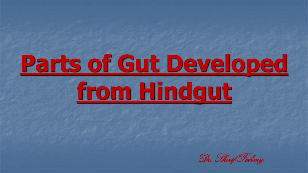 Parts of Gut Developed from Hindgut Dr. Sherif ...