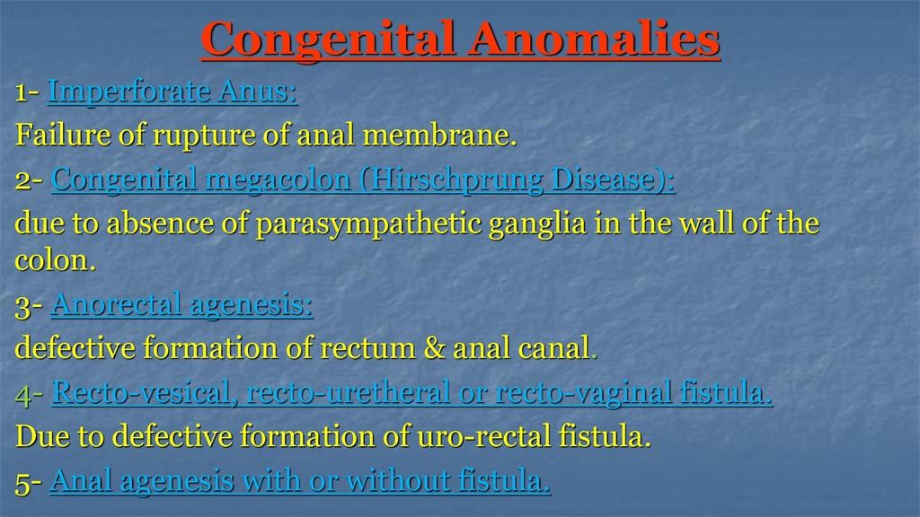 Congenital Anomalies 1- Imperforate Anus: Failu...