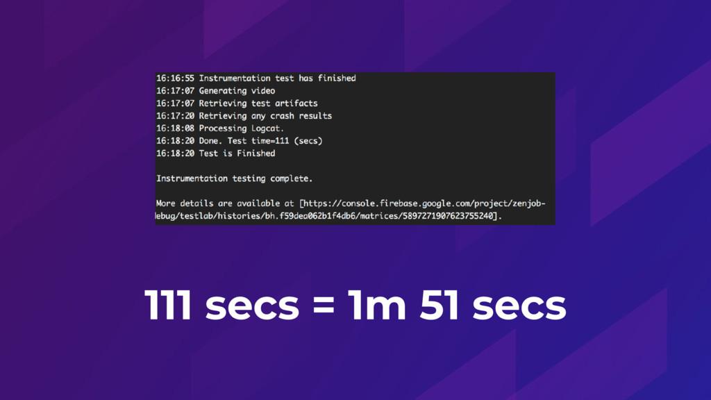 111 secs = 1m 51 secs