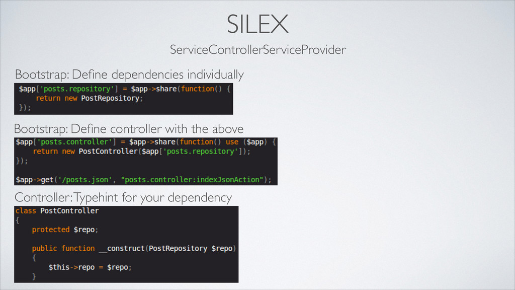 SILEX ServiceControllerServiceProvider Bootstra...