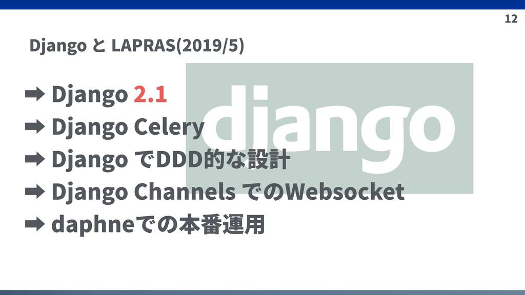 12 Django と LAPRAS(2019/5) ➡ Django 2.1 ➡ Djang...