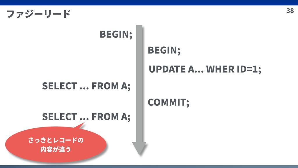 38 ファジーリード BEGIN; BEGIN; UPDATE A... WHER ID=1;...