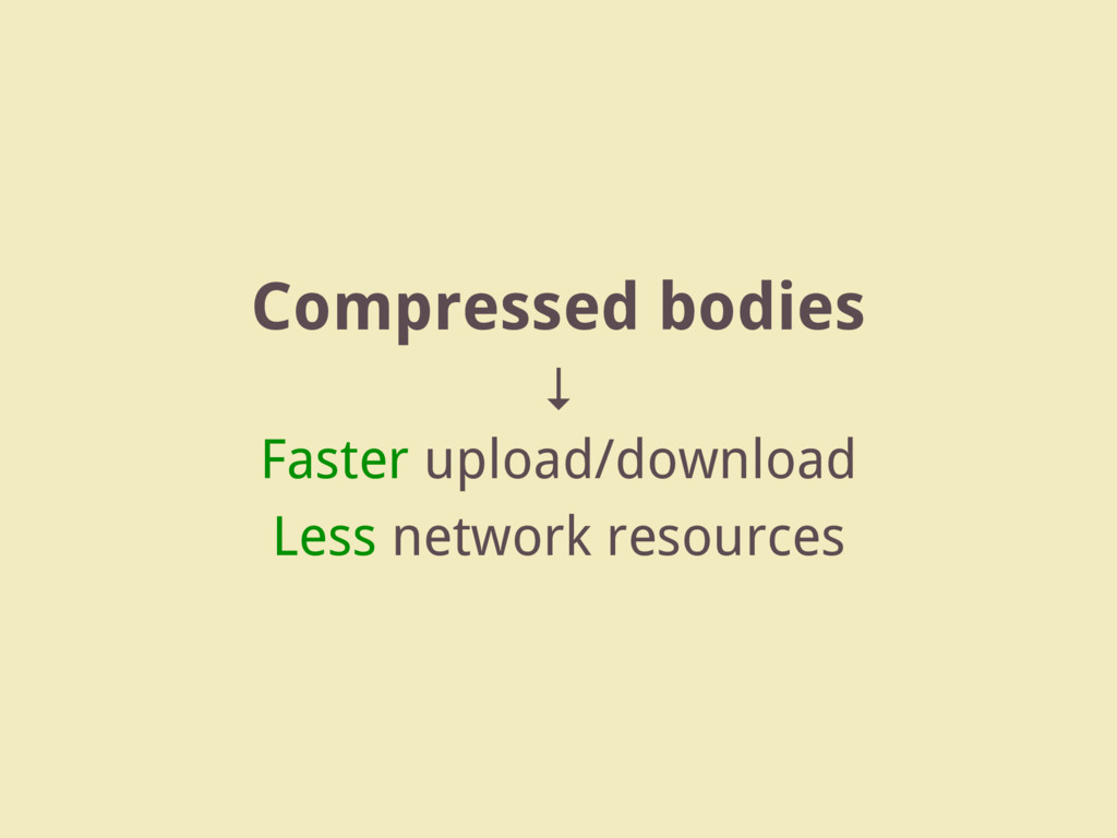 Compressed bodies ↓ Faster upload/download Less...