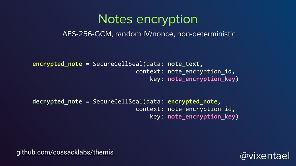 @vixentael encrypted_note = SecureCellSeal(data...