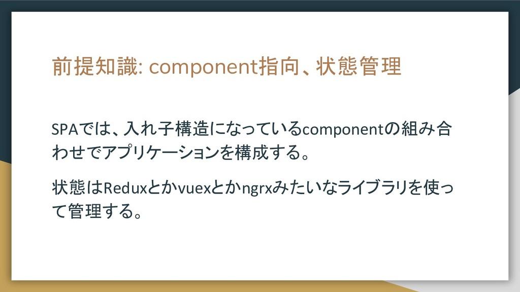 前提知識: component指向、状態管理 SPAでは、入れ子構造になっているcompone...