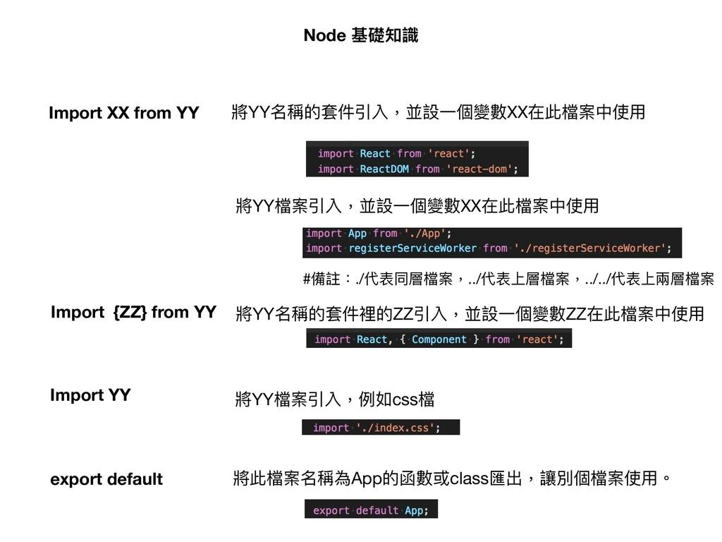 Node 基礎知識 Import XX from YY 將YY名稱的套件引入,並設⼀一個變數X...