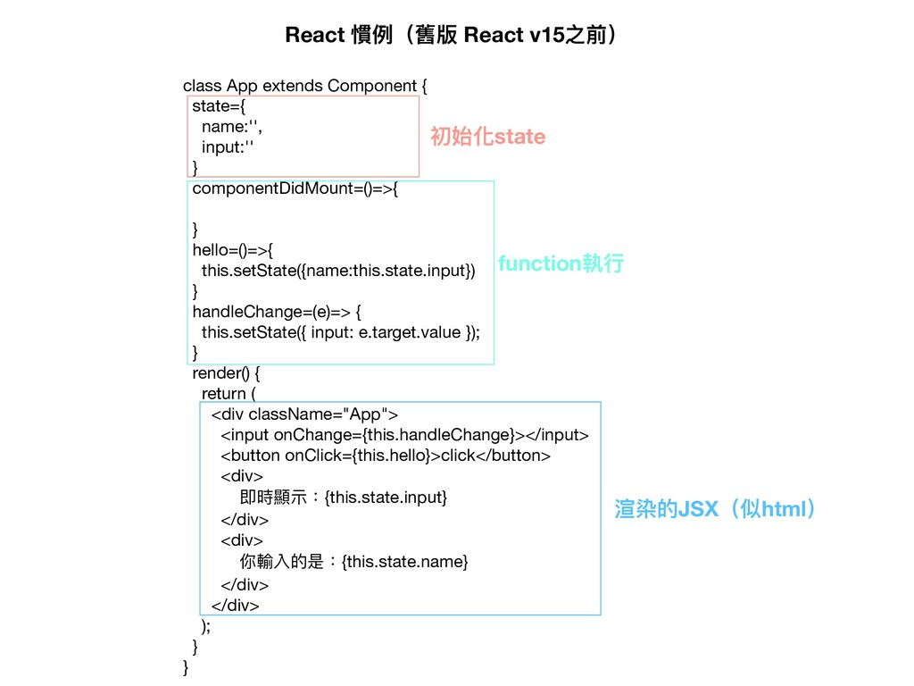 class App extends Component {  state={  name:''...