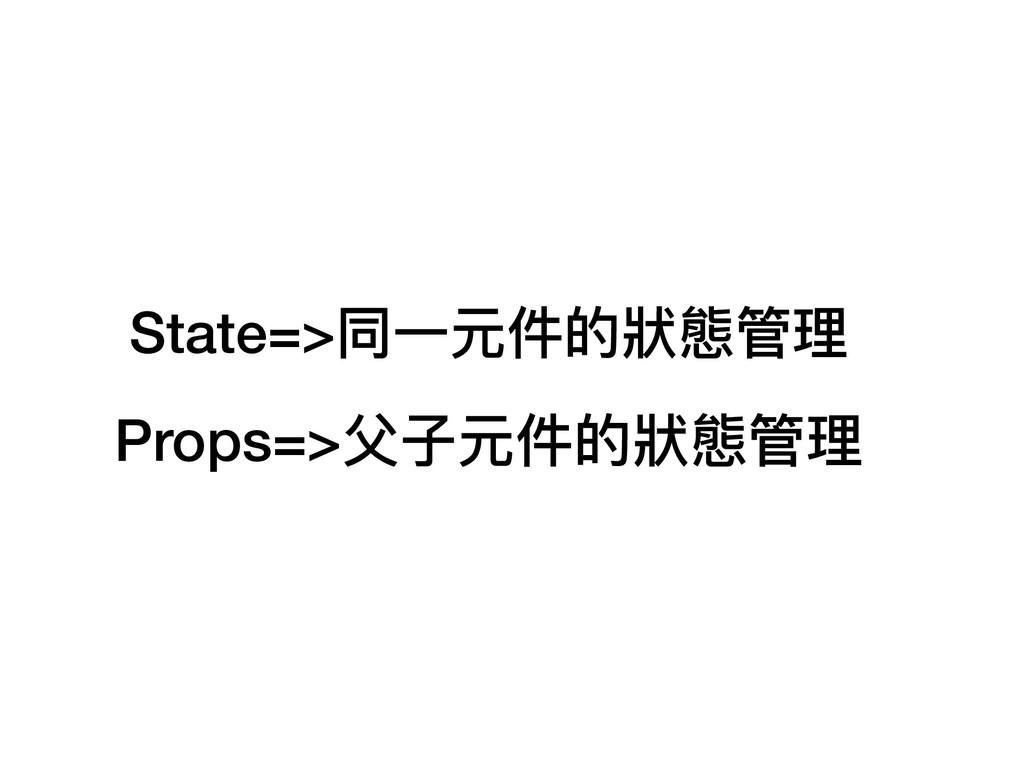 State=>同⼀一元件的狀狀態管理理 Props=>⽗父⼦子元件的狀狀態管理理