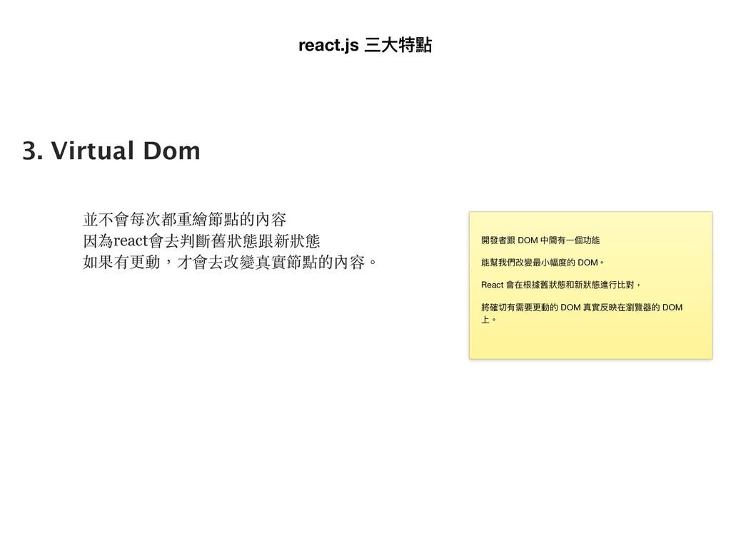 3. Virtual Dom 並不會每次都重繪節點的內容 因為react會去判斷舊狀態跟新狀態...