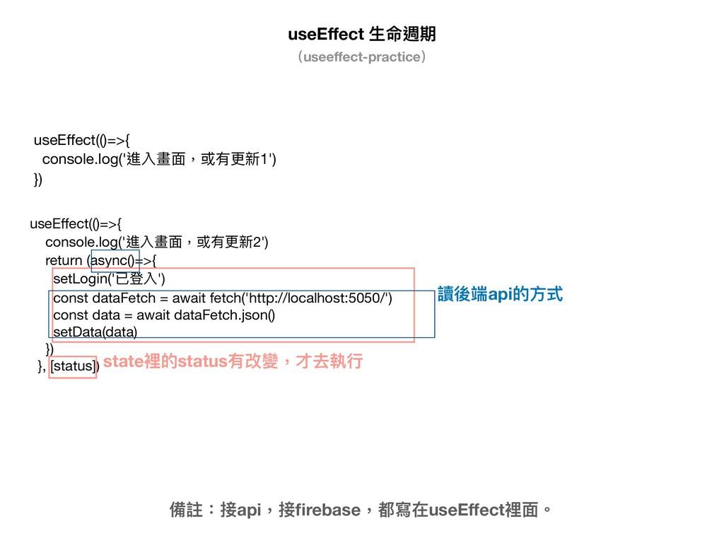 useEffect ⽣生命週期 備註:接api,接firebase,都寫在useEffect裡⾯面。...