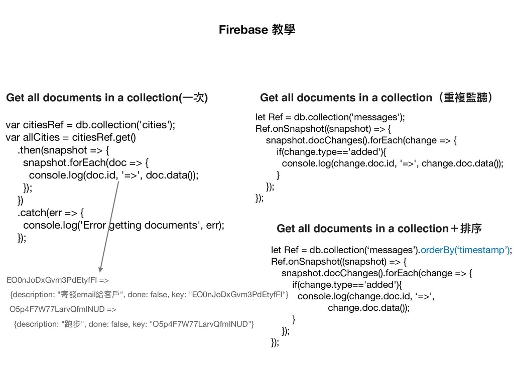 Get all documents in a collection(⼀一次) var citi...