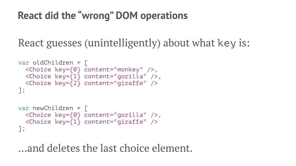 """React did the """"wrong"""" DOM operations React gues..."""