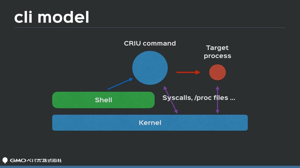 cli model Shell CRIU command Kernel Target pro...