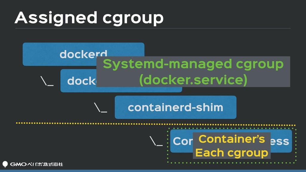 Assigned cgroup dockerd docker-containerd conta...