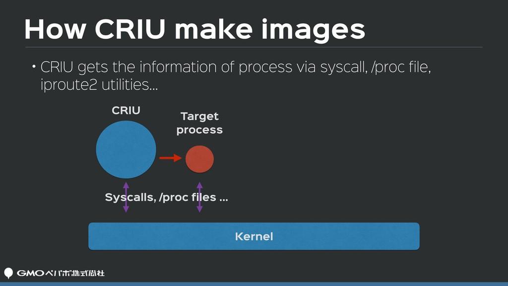 How CRIU make images CRIU Target process Sysca...