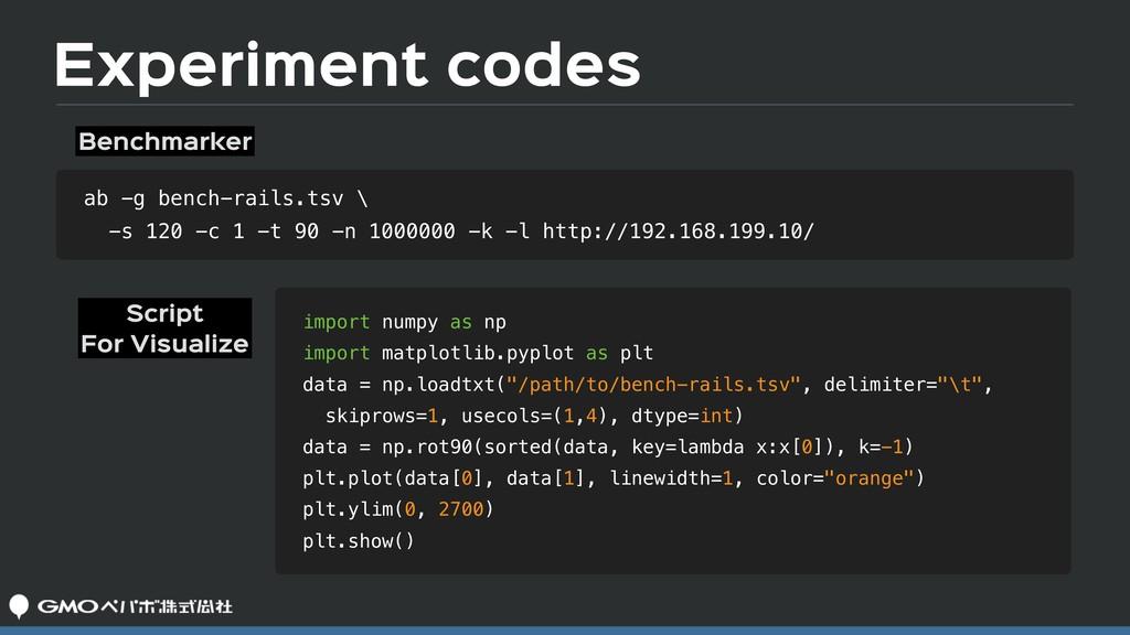 Experiment codes ab -g bench-rails.tsv \ -s 120...
