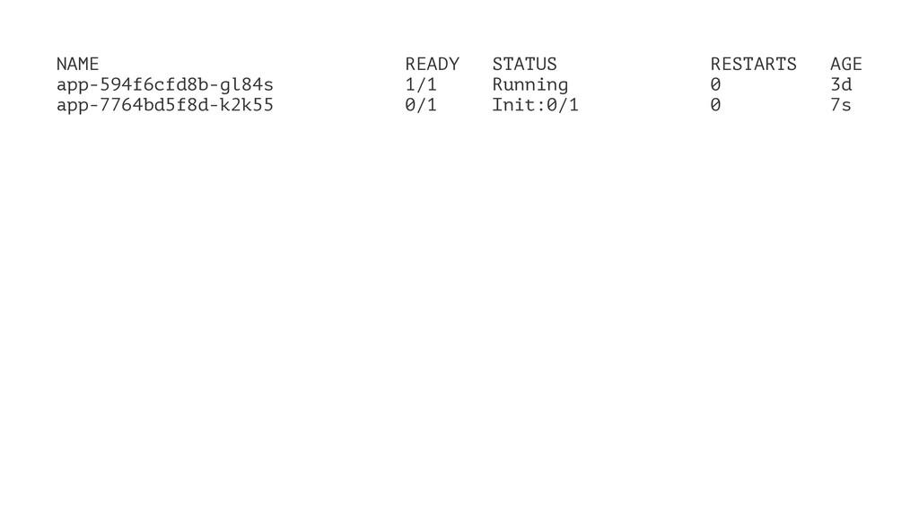 NAME READY STATUS RESTARTS AGE app-594f6cfd8b-g...
