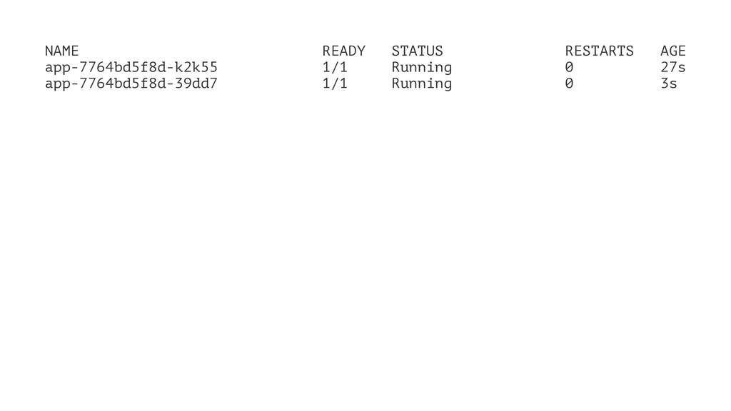 NAME READY STATUS RESTARTS AGE app-7764bd5f8d-k...