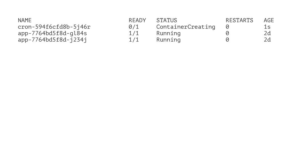 NAME READY STATUS RESTARTS AGE cron-594f6cfd8b-...