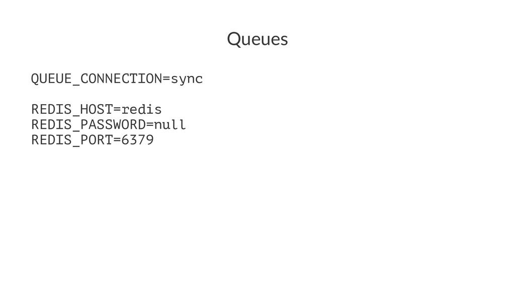 Queues QUEUE_CONNECTION=sync REDIS_HOST=redis R...