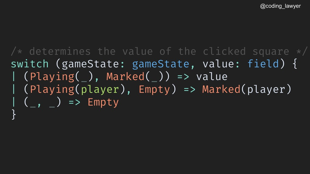 @coding_lawyer /* determines the value of the c...