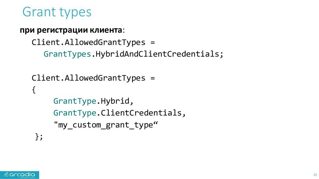 Grant types при регистрации клиента: Client.All...