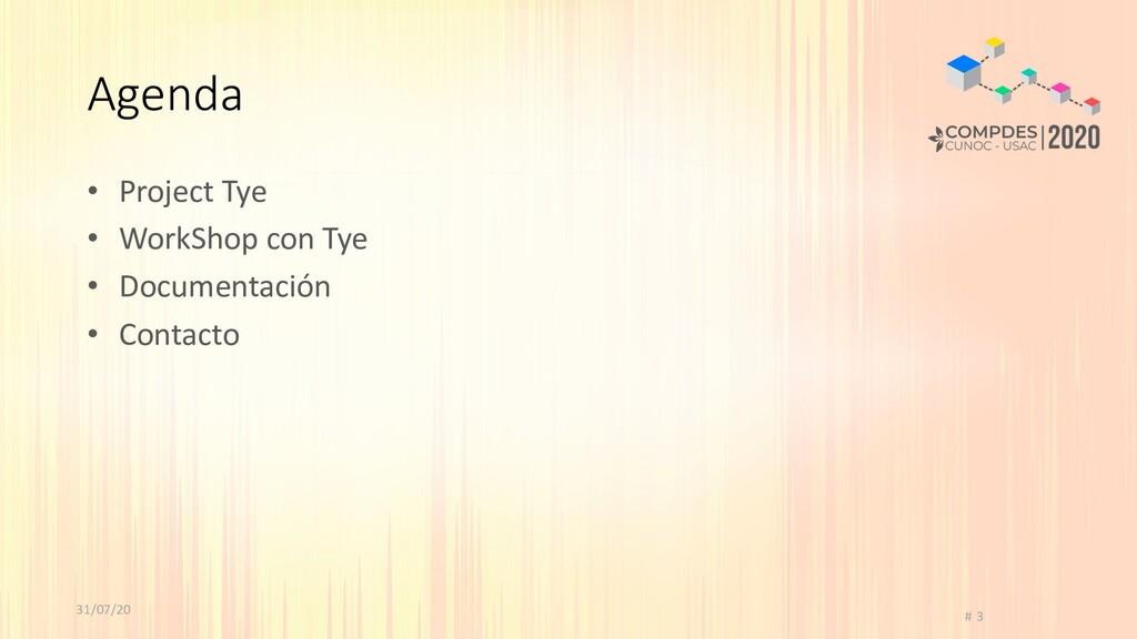 31/07/20 # 3 Agenda • Project Tye • WorkShop co...
