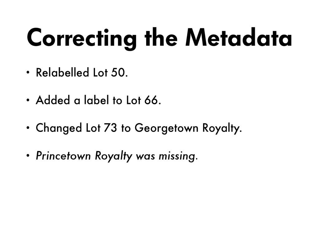 Correcting the Metadata • Relabelled Lot 50. • ...