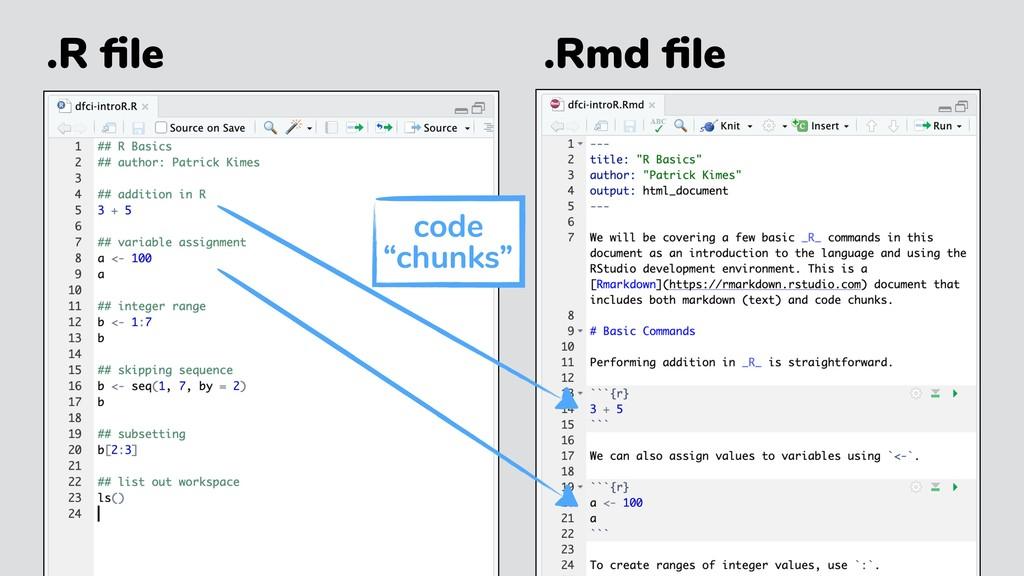 ".R file .Rmd file code ""chunks"""