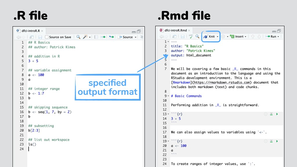 .R file .Rmd file specified output format
