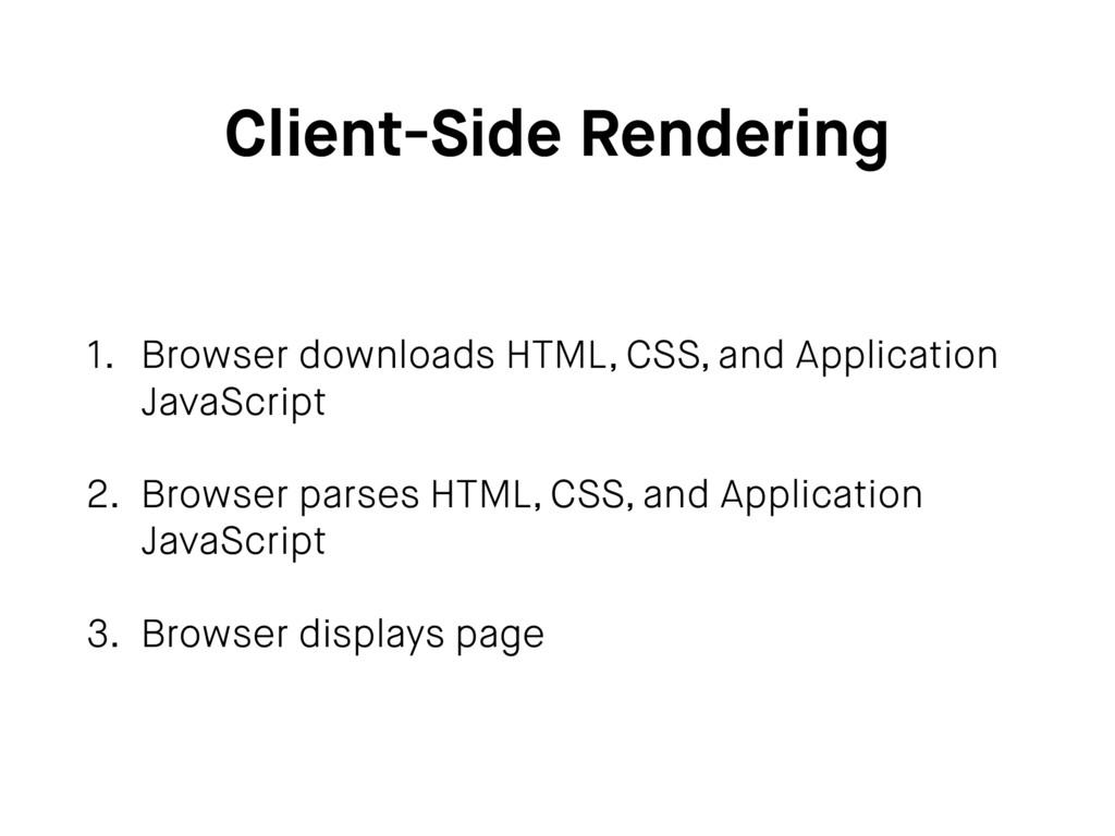 Client-Side Rendering 1. Browser downloads HTML...