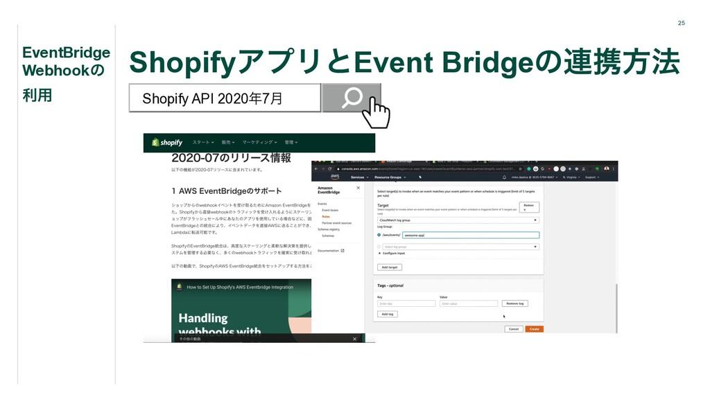 25 ShopifyΞϓϦͱEvent Bridgeͷ࿈ܞํ๏ EventBridge Web...
