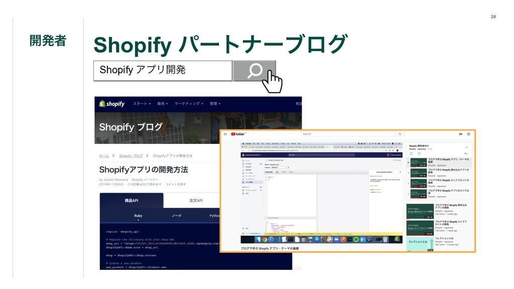 28 Shopify ύʔτφʔϒϩά ։ൃऀ Shopify ΞϓϦ։ൃ