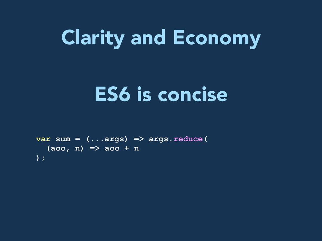 Clarity and Economy var sum = (...args) => args...
