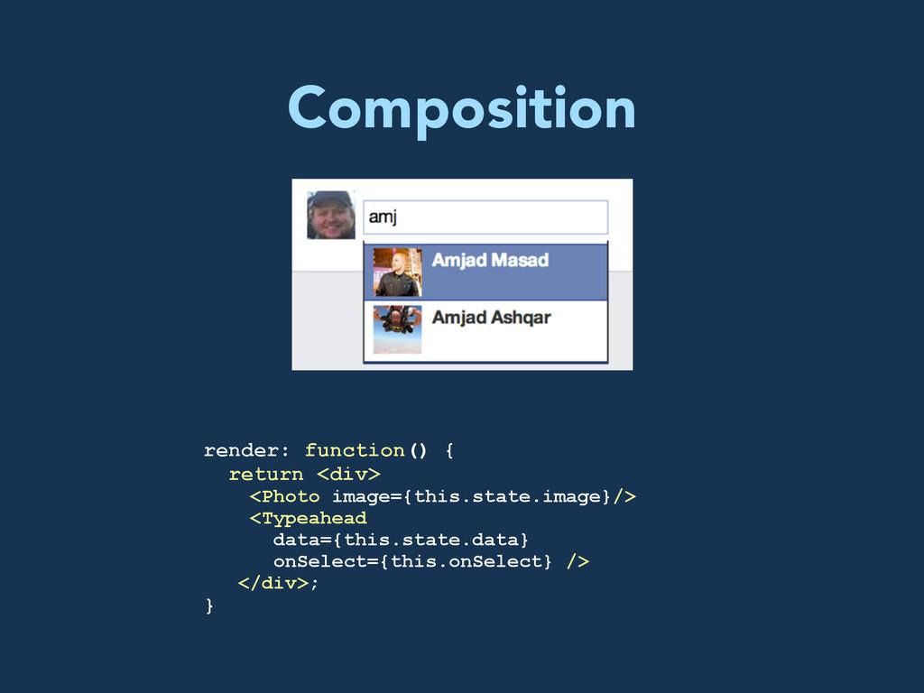 Composition render: function() { return <div> <...