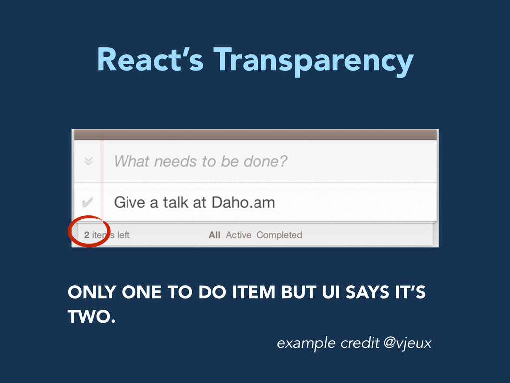 React's Transparency ONLY ONE TO DO ITEM BUT UI...