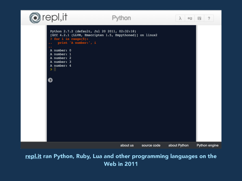 repl.it ran Python, Ruby, Lua and other program...