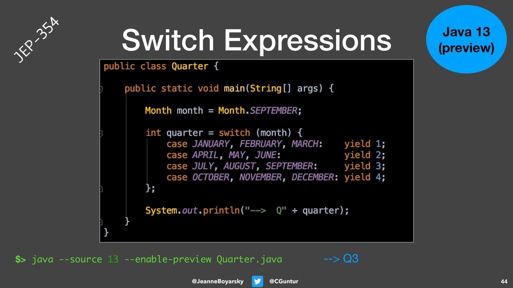 @CGuntur @JeanneBoyarsky Switch Expressions 44 ...