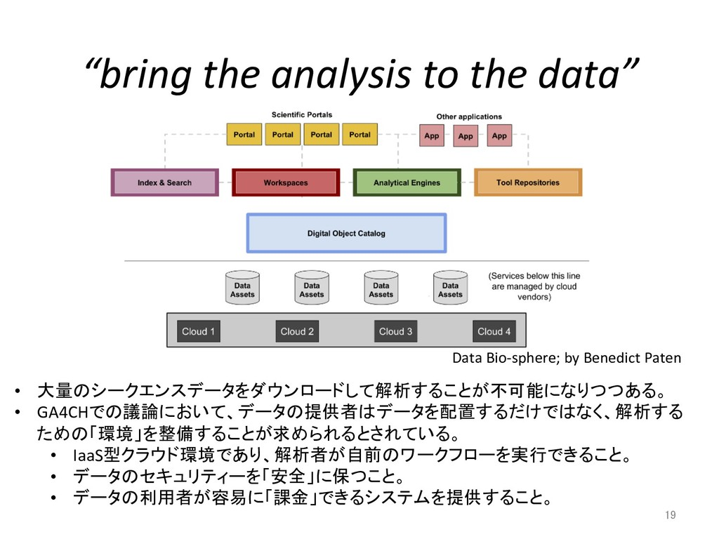 """bring the analysis to the data"" 19 •  大量のシークエン..."