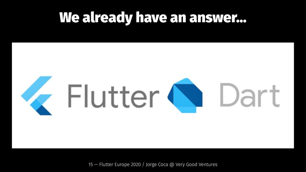 We already have an answer... 15 — Flutter Europ...