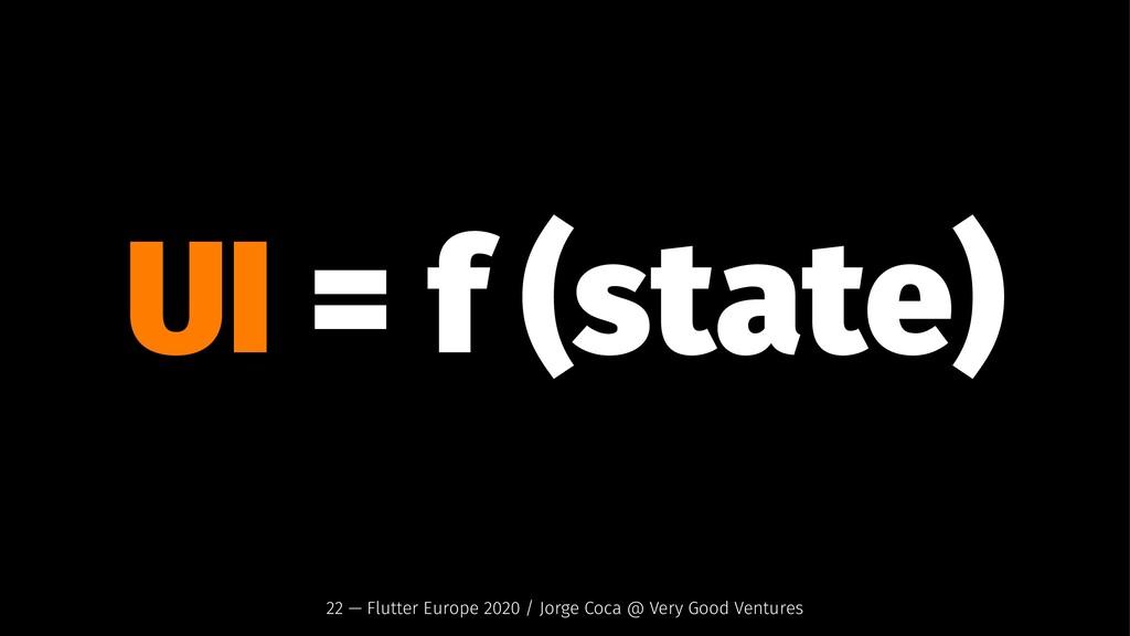 UI = f (state) 22 — Flutter Europe 2020 / Jorge...