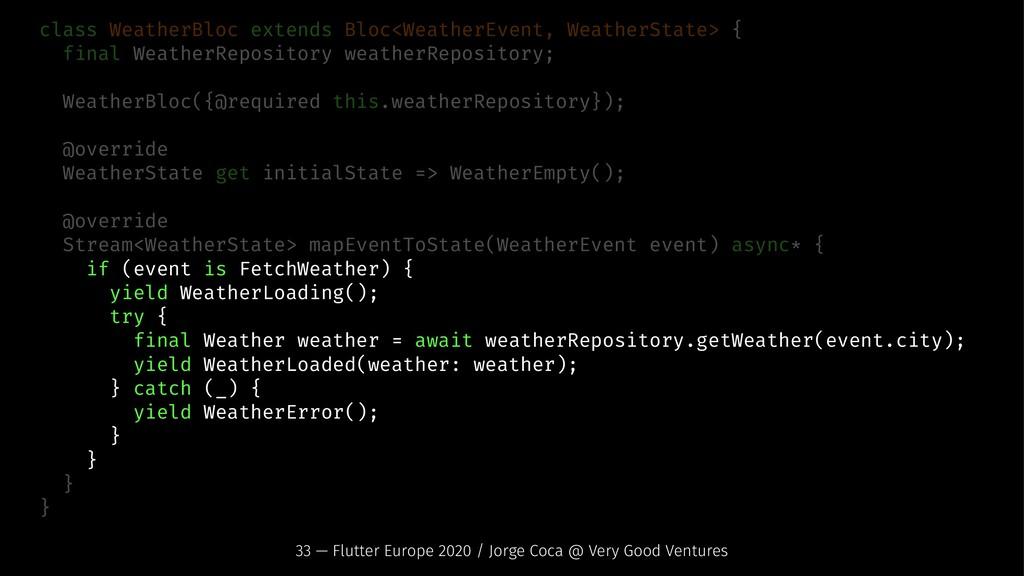 class WeatherBloc extends Bloc<WeatherEvent, We...