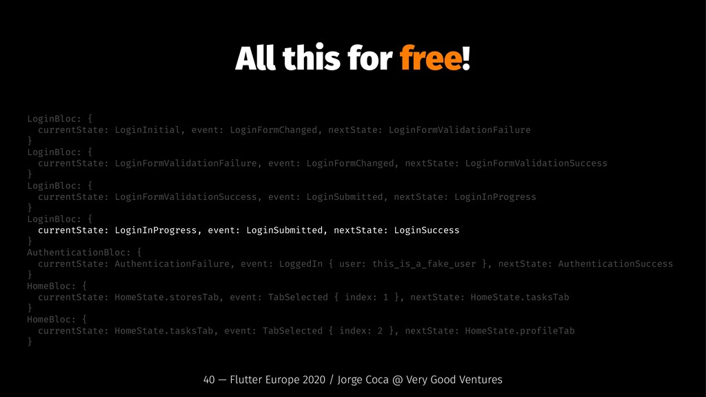 All this for free! LoginBloc: { currentState: L...