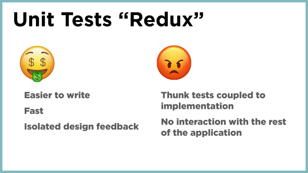 "Unit Tests ""Redux"" Easier to write Fast Isolate..."