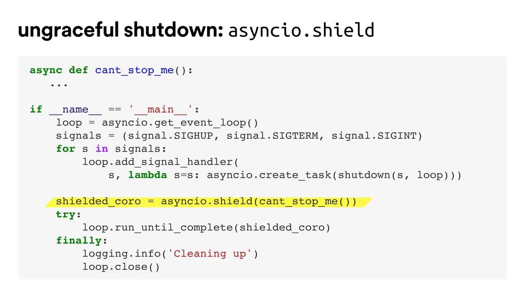 ungraceful shutdown: asyncio.shield async def c...