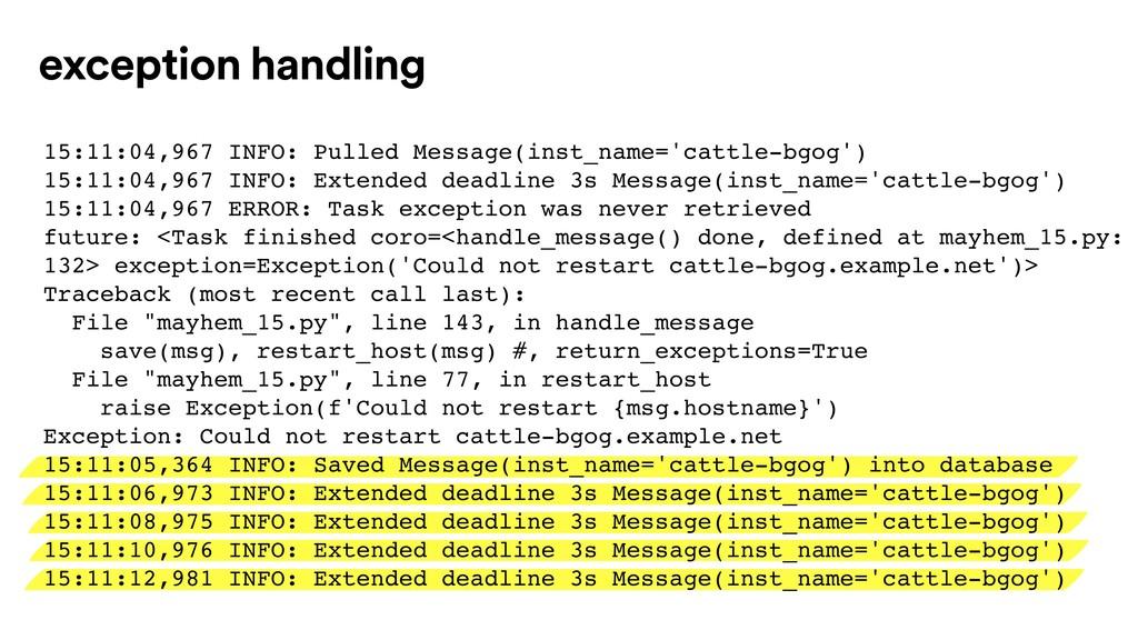 exception handling 15:11:04,967 INFO: Pulled Me...