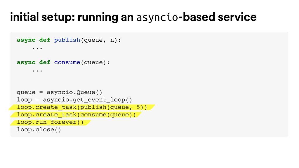 initial setup: running an asyncio-based service...