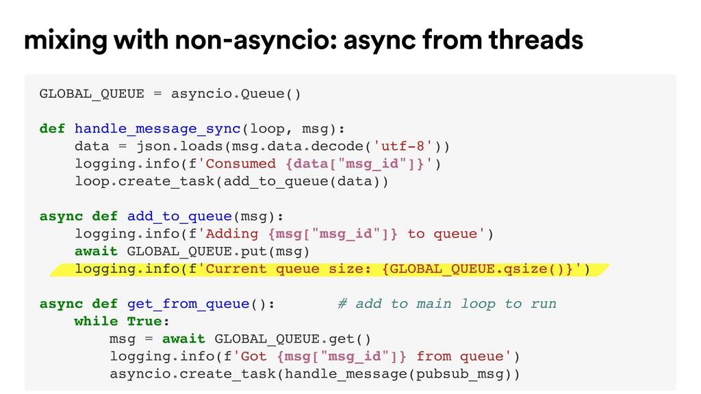 mixing with non-asyncio: async from threads GLO...