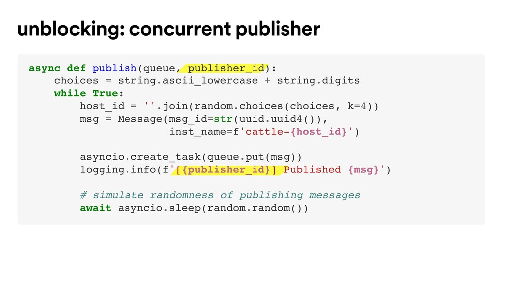 unblocking: concurrent publisher async def publ...