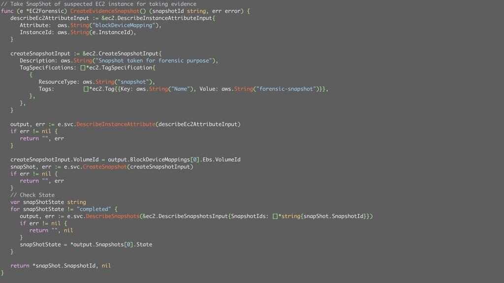 ݟग़͠ // Take SnapShot of suspected EC2 instance ...